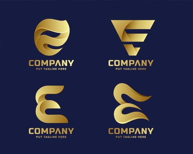 Kolekcja początkowa logo e kreatywnego biznesu złoty list