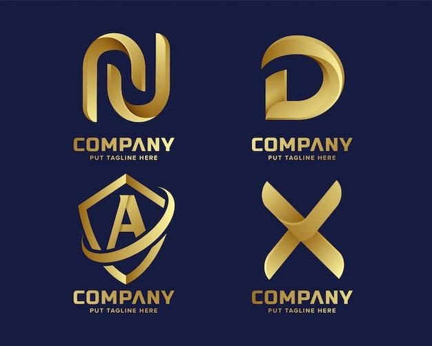 Kolekcja początkowa logo kreatywnych firm złoty list