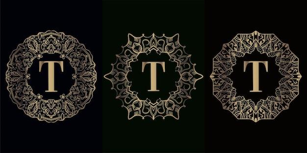 Kolekcja początkowego logo t z luksusową ramą ozdobną mandali