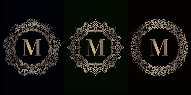Kolekcja początkowego logo z luksusową ramą ornament mandali