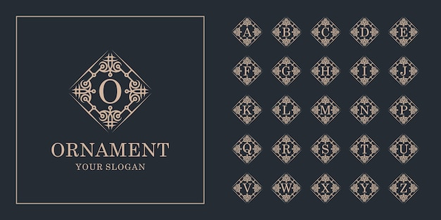 Kolekcja początkowy alfabet z luksusowym ornamentem kwiatowy rama złoty szablon logo