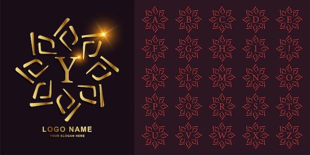 Kolekcja początkowy alfabet z luksusowym ornamentem rama złoty szablon logo.
