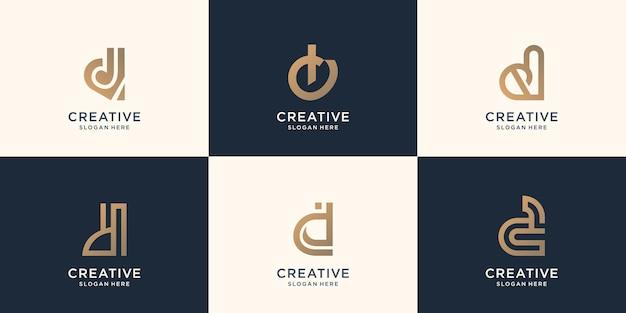 Kolekcja początkowy d abstrakcyjny wzór znaku listu dla firmy biznesowej. inspiracja wstępny projekt.