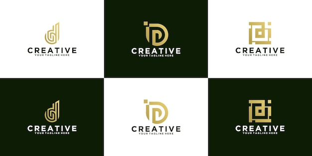 Kolekcja początkowych projektów logo na literę d prosty nowoczesny design