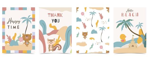 Kolekcja pocztówek dla dzieci z niedźwiedziem, tęczą, słońcem. edytowalna ilustracja wektorowa na stronę internetową, zaproszenie, pocztówkę i naklejkę