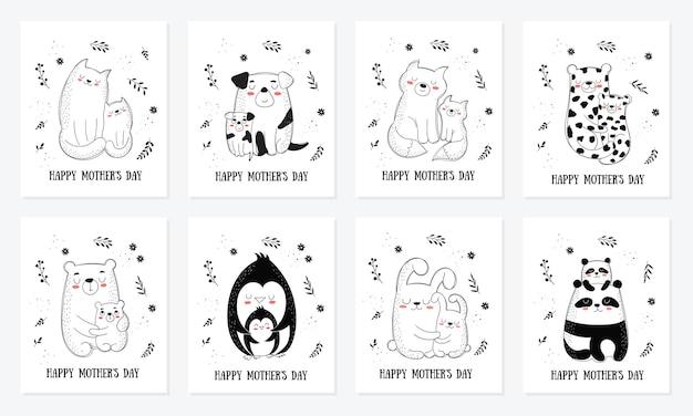 Kolekcja pocztówek z okazji dnia matki. ilustracje wektorowe kreskówka doodle. mama kot z dzieckiem. idealny na pocztówkę, etykietę, broszurę, ulotkę, stronę, projekt banera
