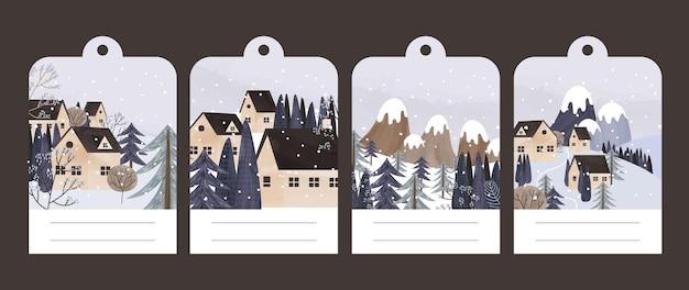 Kolekcja pocztówek z zimowym krajobrazem i domami
