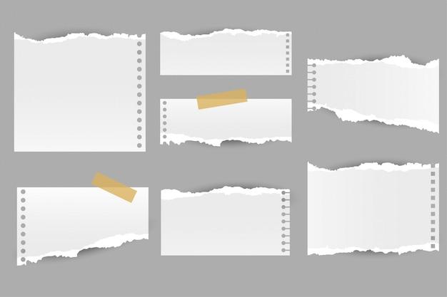 Kolekcja podartych zgranych arkuszy notatek papierowych