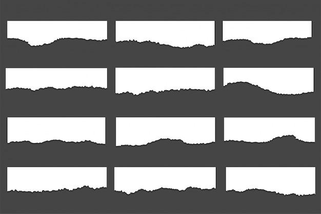 Kolekcja podartych zgranych arkuszy papieru