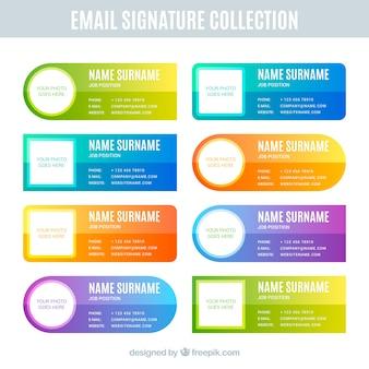 Kolekcja podpisów e-mail w kolorach gradientu