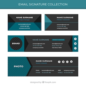 Kolekcja podpisów e-mail w stylu płaskiej