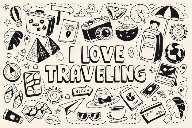Kolekcja podróży monochromatycznych doodli