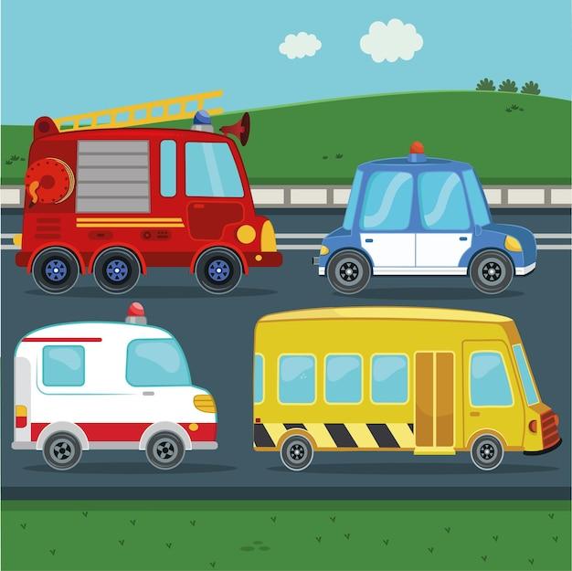 Kolekcja pojazdów służb publicznych dla dzieci samochód policyjny karetka wozu strażackiego autobus szkolny