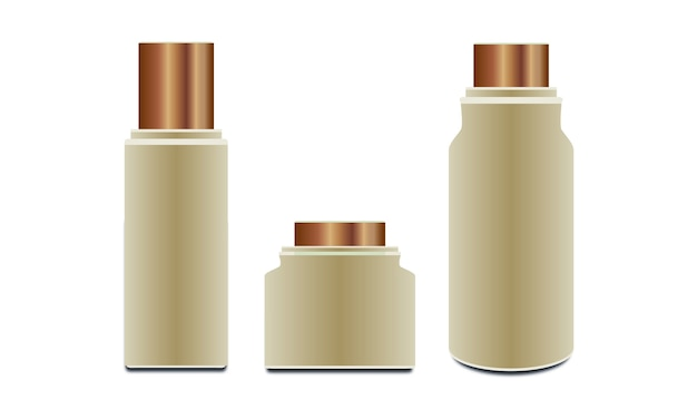 Kolekcja pojemników na produkty kosmetyczne.