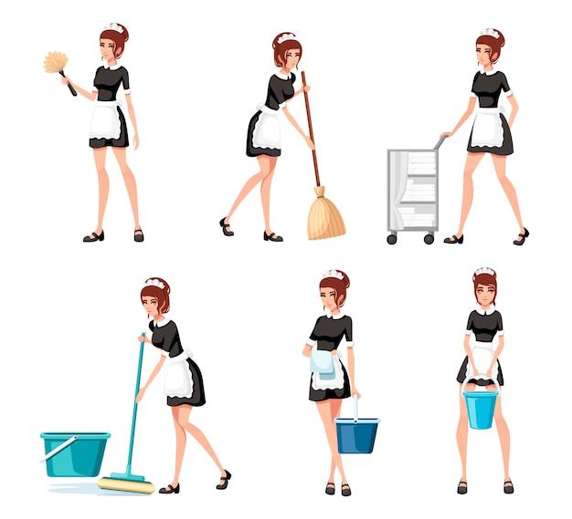 Kolekcja pokojówek we francuskich strojach. personel hotelu zaangażowany w wykonywanie obowiązków służbowych. pokojówka czyści podłogę mopem. ilustracja na białym tle