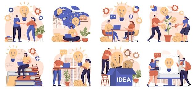 Kolekcja pomysłów na biznes scen na białym tle ludzie przeprowadzają burze mózgów generując pomysły i innowacje