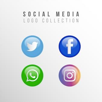 Kolekcja popularnych mediów społecznościowych