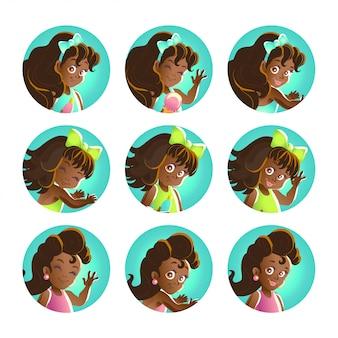 Kolekcja portretów młodych czarnowłosych afrykańskich dziewcząt. illustrarion