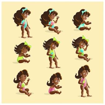 Kolekcja portretów młodych czarnowłosych afrykańskich dziewcząt w różnych pozach. illustrarion