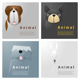 Kolekcja portretów zwierząt z psami