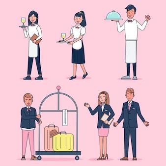 Kolekcja postaci dużego zestawu cateringowego na białym tle płaska ilustracja nosząca profesjonalny mundur, styl kreskówkowy na temat hotelu