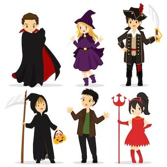 Kolekcja postaci i przedmiotów na halloween