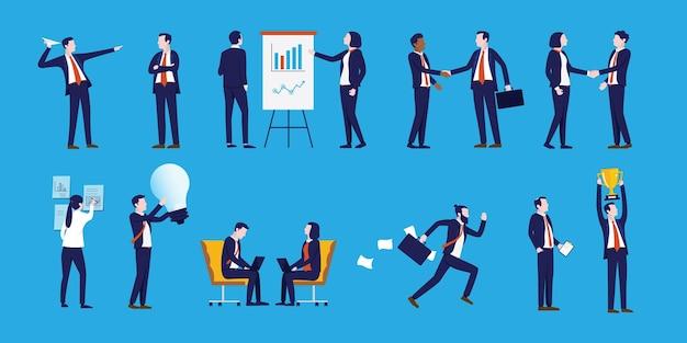 Kolekcja postaci ludzi biznesu z korporacyjnymi postaciami w różnych pozach