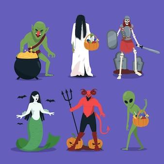 Kolekcja postaci mitycznych stworzeń na halloween