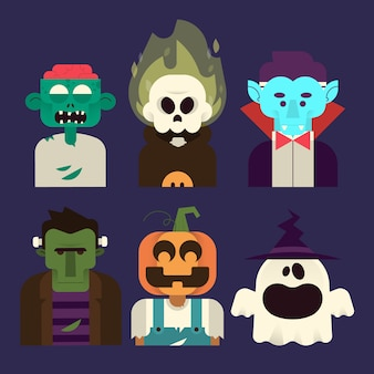 Kolekcja postaci na halloween