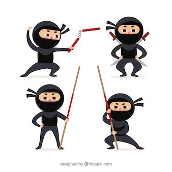 Kolekcja postaci ninja z różnymi pozami