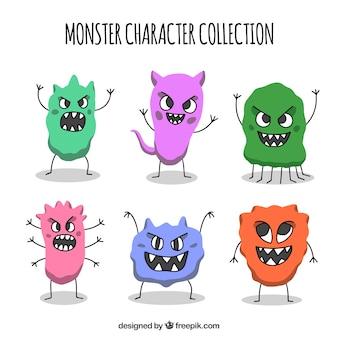 Kolekcja postaci potworów ze śmiesznymi twarzami