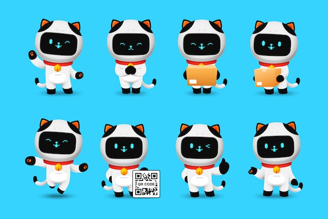 Kolekcja postaci robota cute cat