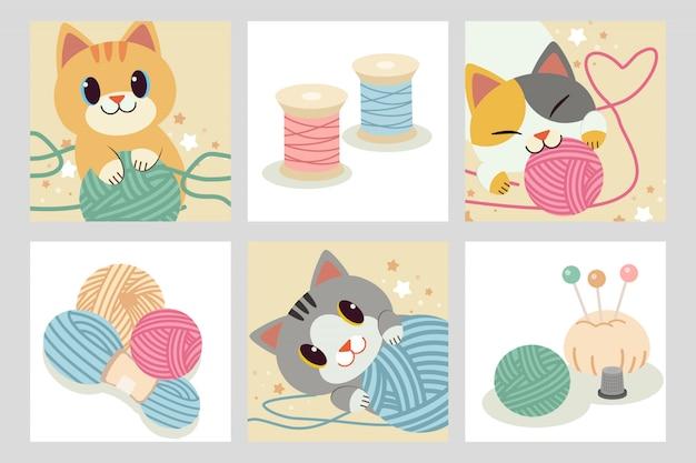 Kolekcja postaci ślicznego kota bawiącego się przędzą.