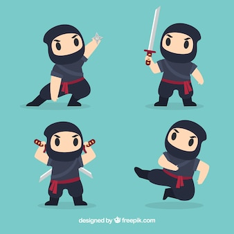 Kolekcja postaci wojownika ninja