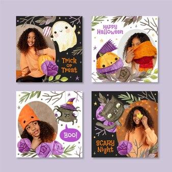 Kolekcja postów akwarela halloween na instagramie