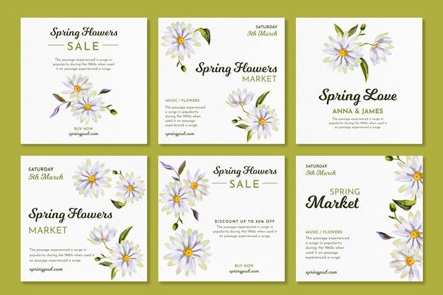 Kolekcja postów akwarela na instagramie na wiosnę z kwiatami