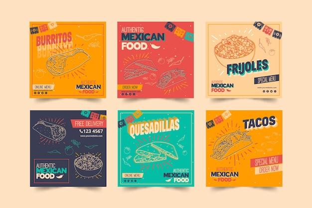 Kolekcja postów instagram dla meksykańskiej restauracji spożywczej