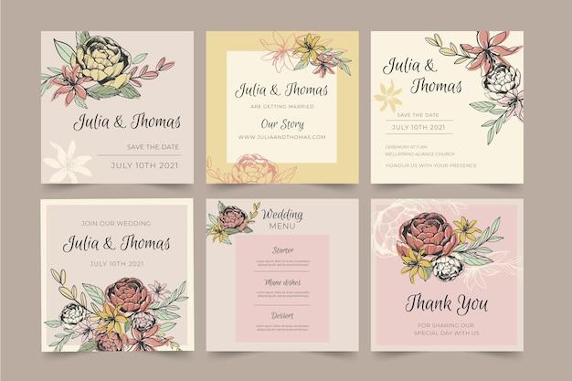 Kolekcja postów instagram na wesele