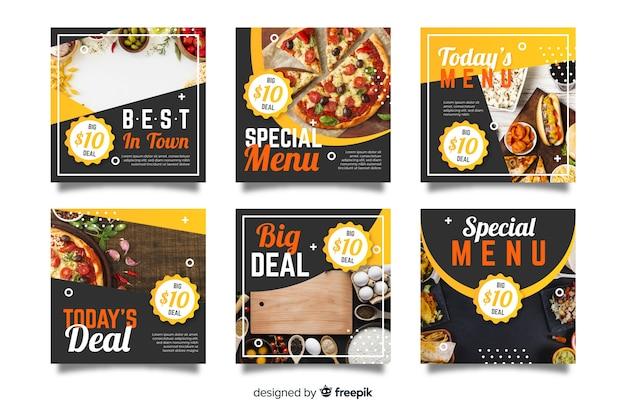 Kolekcja postów kulinarnych na instagramie z obrazem