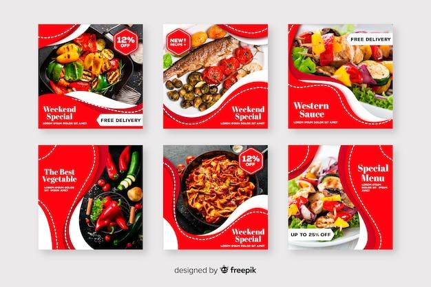Kolekcja postów kulinarnych na instagramie ze zdjęciem