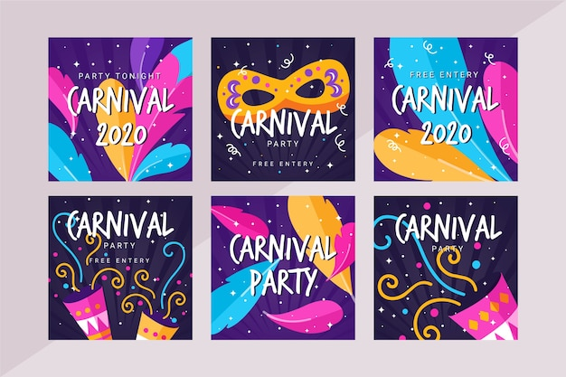 Kolekcja postów na imprezie karnawałowej