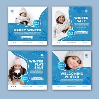 Kolekcja postów na instagram na zimową wyprzedaż