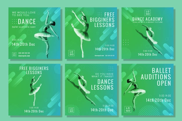Kolekcja postów na instagramie akademii tańca