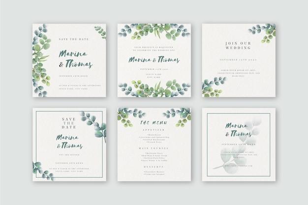 Kolekcja postów na instagramie akwarela na ślub