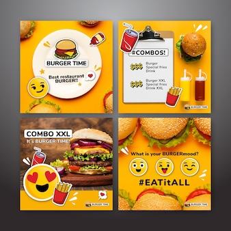 Kolekcja postów na instagramie dla fast foodów