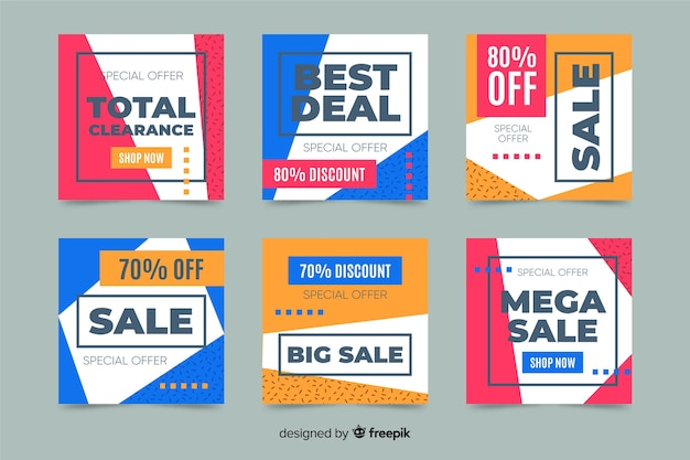 Kolekcja postów na instagramie dla ofert sprzedaży