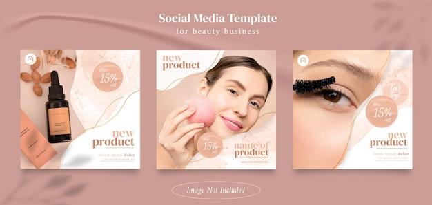 Kolekcja postów na instagramie dla produktów kosmetycznych lub do pielęgnacji skóry