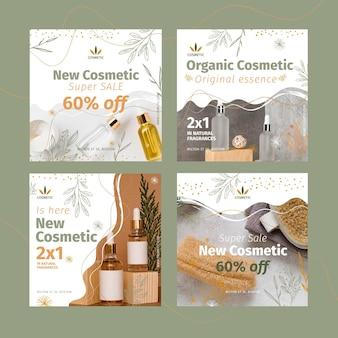 Kolekcja postów na instagramie dla produktów kosmetycznych