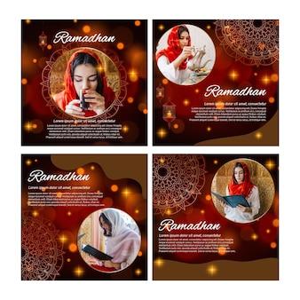 Kolekcja postów na instagramie dla ramadanu