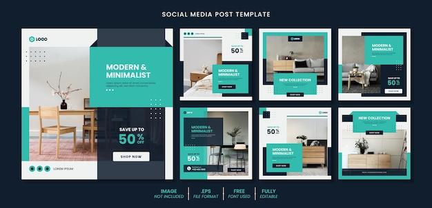 Kolekcja postów na instagramie do projektowania wnętrz domowych z meblami